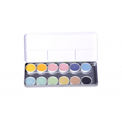 watercolors paint box nawaro, metal case, tablets Ø30mm - 12 colors