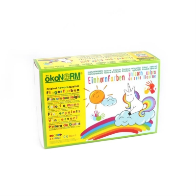 finger paints nawaro, 6-color set Unicorn- red, orange, yellow, green, cyan, violet