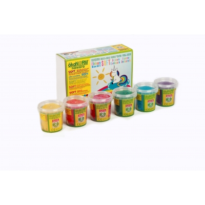 SOFT modelling clay nawaro, 6-color set Unicorn - red, orange, yellow, green, cyan, violet