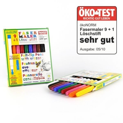 fasermaler 9 1 inkl l schstift 9 farben ko test quo. Black Bedroom Furniture Sets. Home Design Ideas