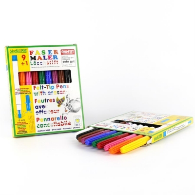 felt-tip pen 9+1, 9 colors + 1 eraser-pen - ÖKO-TEST very good