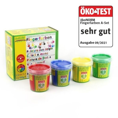 finger paints nawaro, 4-color set A - red, yellow, green, blue - ÖKO-TEST very good