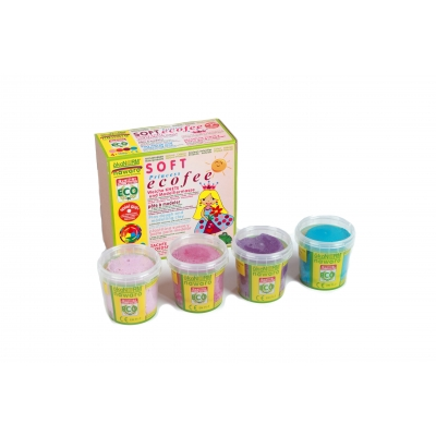 SOFT modelling clay nawaro, 4-color set M Eco Princess - rose, pink, violet, cyan