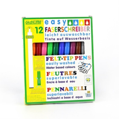 easy felt-tip pen, 2 mm, easily washable - 12 colors