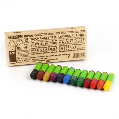 mini wax crayons Gnome nawaro, wooden box FSC-certified - 12 colors