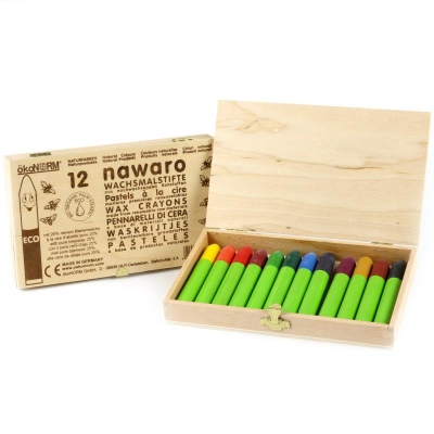 wax crayons nawaro, wooden box FSC-certified - 12 colors