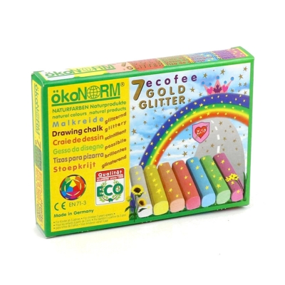 drawing chalk Ecofee - golden glitter, carton - 7 colors
